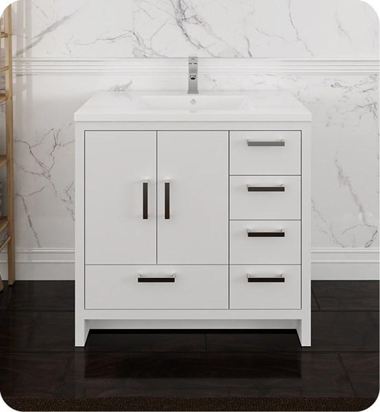 "Fresca Imperia 36"" Glossy White Free Standing Modern Bathroom Cabinet w/ Integrated Sink - Right Version 