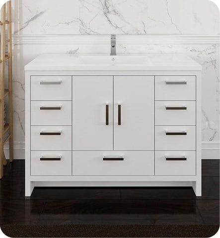 "Image of Fresca Imperia 48"" Glossy White Free Standing Modern Bathroom Cabinet w/ Integrated Sink 