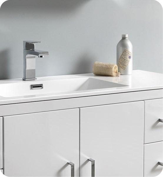 "Fresca Imperia 48"" Glossy White Free Standing Modern Bathroom Cabinet w/ Integrated Sink 