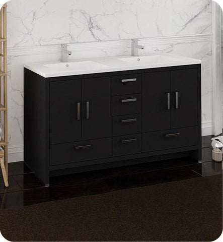 "Image of Fresca Imperia 60"" Dark Gray Oak Free Standing Modern Bathroom Cabinet w/ Integrated Double Sink 