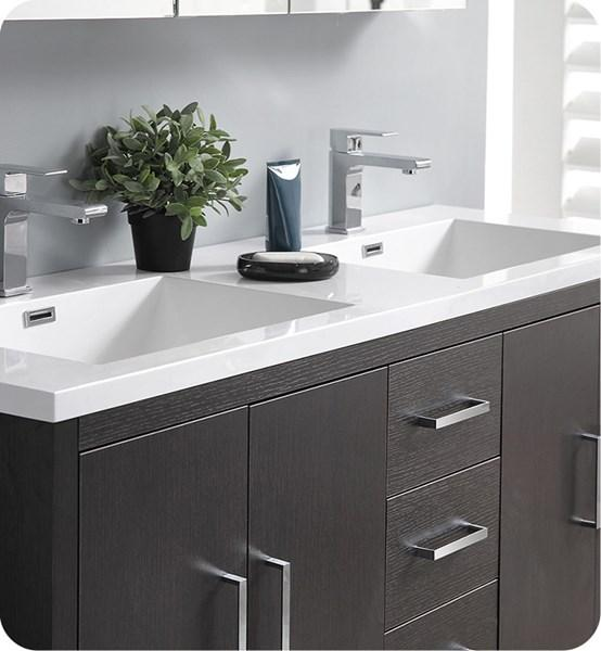 "Fresca Imperia 60"" Dark Gray Oak Free Standing Modern Bathroom Cabinet w/ Integrated Double Sink 