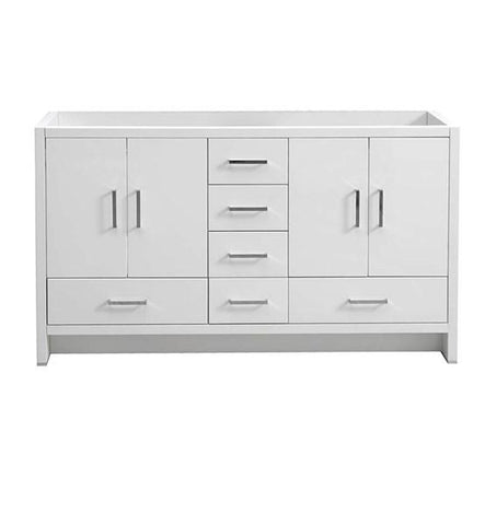 "Image of Fresca Imperia 60"" Glossy White Free Standing Double Sink Modern Bathroom Cabinet 