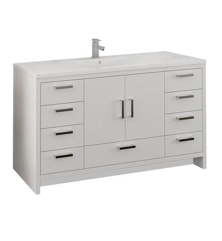 "Image of Fresca Imperia 60"" Glossy White Free Standing Modern Bathroom Cabinet w/ Integrated Single Sink 