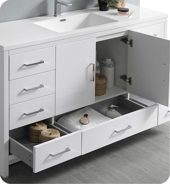 "Fresca Imperia 60"" Glossy White Free Standing Modern Bathroom Cabinet w/ Integrated Single Sink 