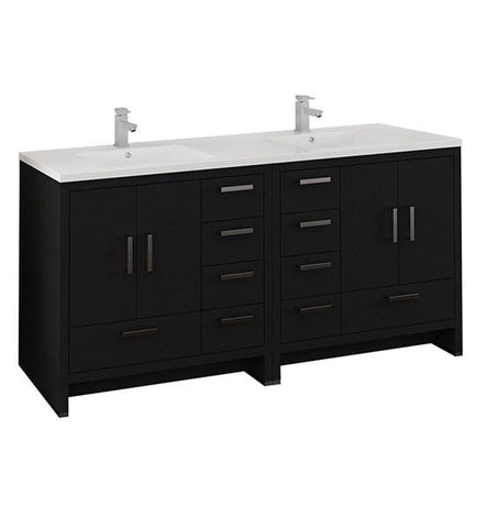 "Image of Fresca Imperia 72"" Dark Gray Oak Free Standing Double Sink Modern Bathroom Cabinet w/ Integrated Sink 