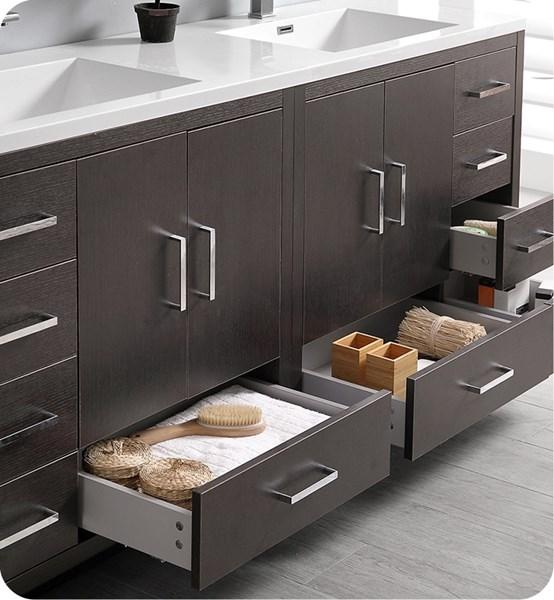 "Fresca Imperia 72"" Dark Gray Oak Free Standing Double Sink Modern Bathroom Cabinet w/ Integrated Sink 