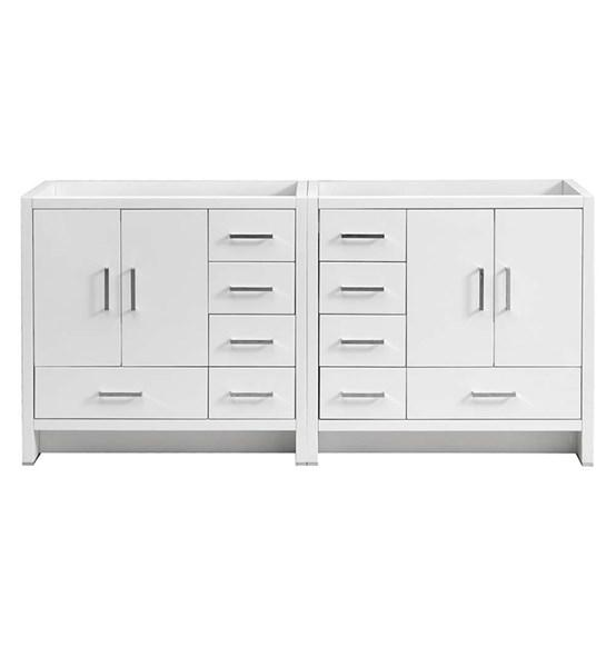 "Fresca Imperia 72"" Glossy White Free Standing Double Sink Modern Bathroom Cabinet 