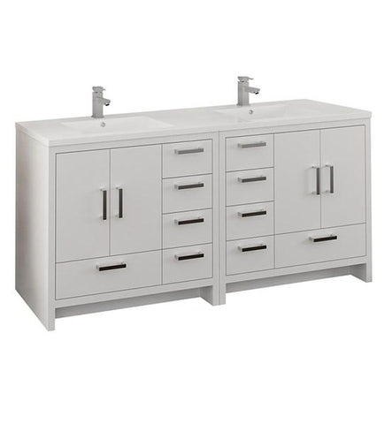 "Image of Fresca Imperia 72"" Glossy White Free Standing Double Sink Modern Bathroom Cabinet w/ Integrated Sink 