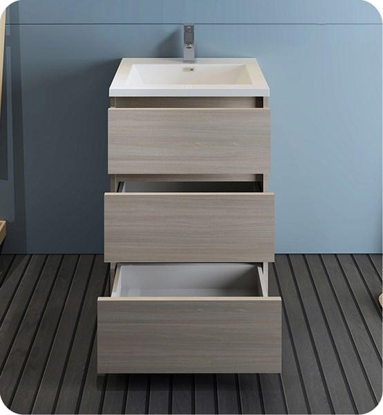 "Fresca Lazzaro 24"" Gray Wood Free Standing Modern Bathroom Cabinet w/ Integrated Sink 
