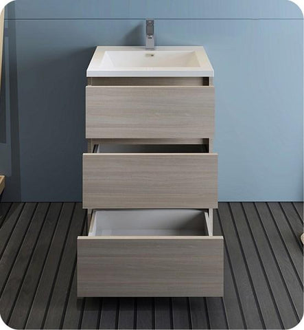 "Image of Fresca Lazzaro 24"" Gray Wood Free Standing Modern Bathroom Cabinet w/ Integrated Sink 