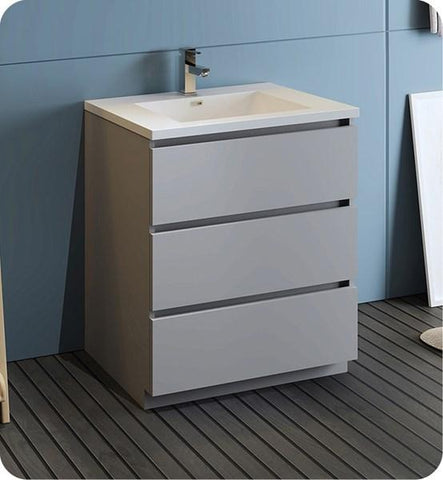 "Image of Fresca Lazzaro 30"" Gray Free Standing Modern Bathroom Cabinet w/ Integrated Sink 