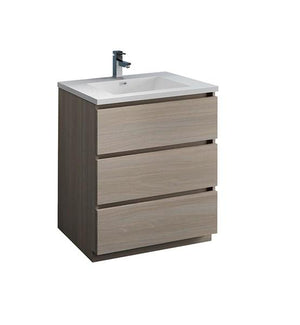 "Fresca Lazzaro 30"" Gray Wood Free Standing Modern Bathroom Cabinet w/ Integrated Sink 