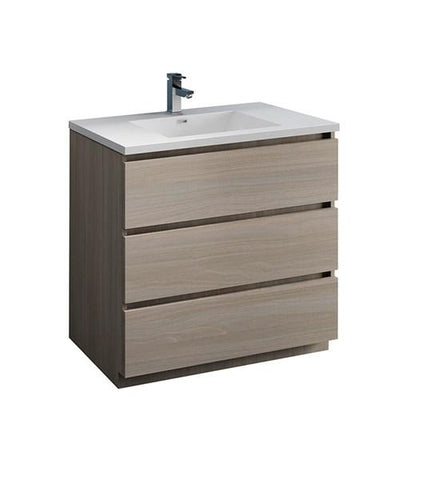 "Image of Fresca Lazzaro 36"" Gray Wood Free Standing Modern Bathroom Cabinet w/ Integrated Sink 