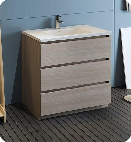 "Fresca Lazzaro 36"" Gray Wood Free Standing Modern Bathroom Cabinet w/ Integrated Sink 