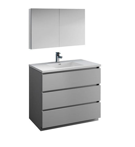 "Image of Fresca Lazzaro 42"" Gray Bath Bowl Vessel Drain Vanity Set w/ Cabinet & Faucet FVN9342GR-FFT1030BN"