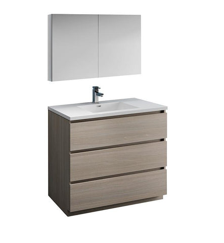 "Fresca Lazzaro 42"" Gray Wood Bath Bowl Vessel Vanity Set w/ Cabinet & Faucet FVN9342MGO-FFT1030BN"