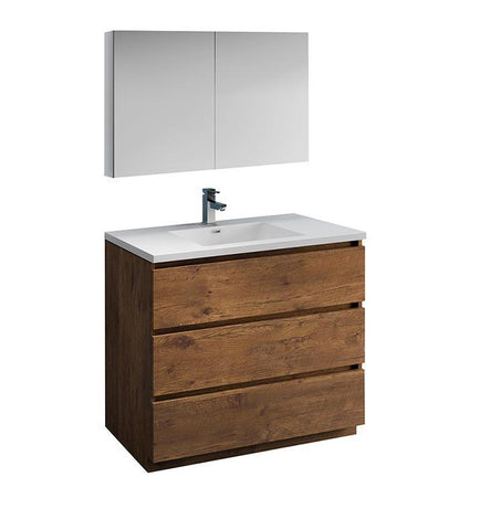 "Image of Fresca Lazzaro 42"" Rosewood Bath Bowl Vessel Vanity Set w/ Cabinet & Faucet FVN9342RW-FFT1030BN"