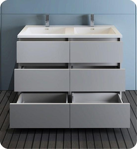 "Image of Fresca Lazzaro 48"" Gray Free Standing Modern Bathroom Cabinet w/ Integrated Double Sink 