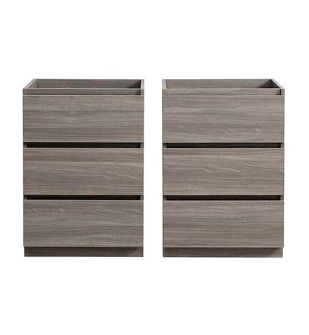 "Image of Fresca Lazzaro 48"" Gray Wood Free Standing Double Sink Modern Bathroom Cabinet 