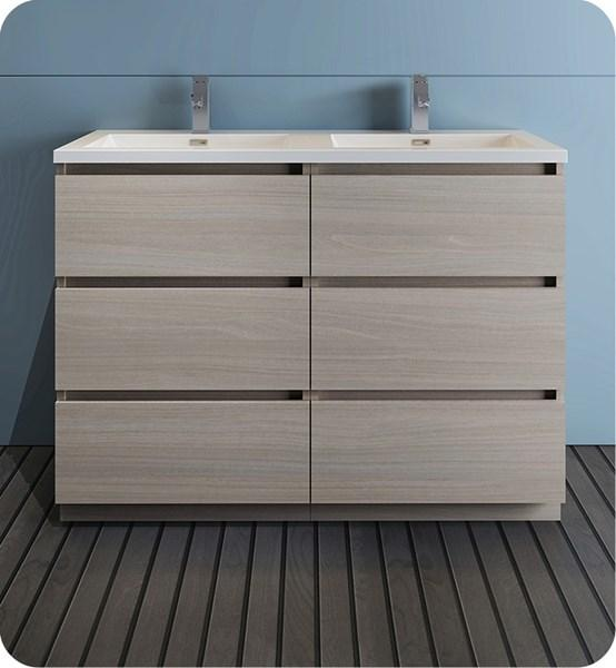"Fresca Lazzaro 48"" Gray Wood Free Standing Modern Bathroom Cabinet w/ Integrated Double Sink 