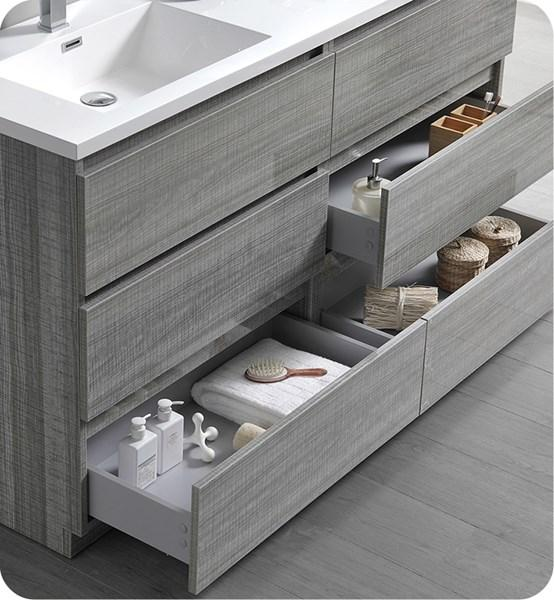 "Fresca Lazzaro 60"" Glossy Ash Gray Free Standing Modern Bathroom Cabinet w/ Integrated Double Sink 