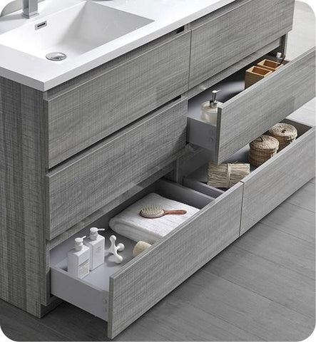 "Image of Fresca Lazzaro 60"" Glossy Ash Gray Free Standing Modern Bathroom Cabinet w/ Integrated Double Sink 