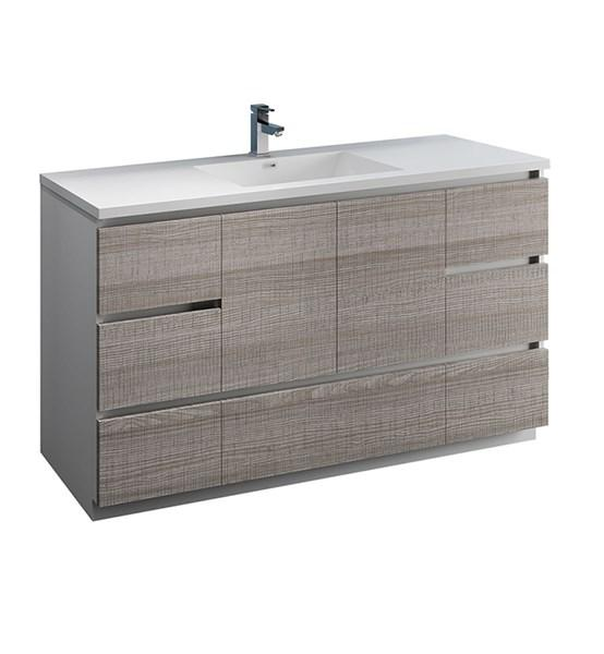 "Fresca Lazzaro 60"" Glossy Ash Gray Free Standing Modern Bathroom Cabinet w/ Integrated Single Sink 