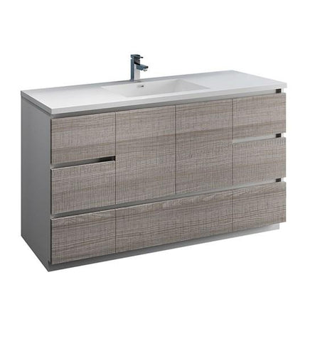 "Image of Fresca Lazzaro 60"" Glossy Ash Gray Free Standing Modern Bathroom Cabinet w/ Integrated Single Sink 