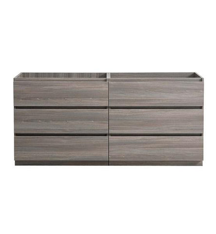 "Image of Fresca Lazzaro 60"" Gray Wood Free Standing Double Sink Modern Bathroom Cabinet 