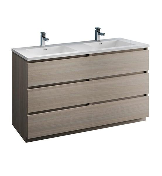 "Fresca Lazzaro 60"" Gray Wood Free Standing Modern Bathroom Cabinet w/ Integrated Double Sink 