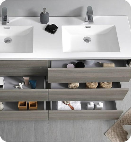 "Image of Fresca Lazzaro 60"" Gray Wood Free Standing Modern Bathroom Cabinet w/ Integrated Double Sink 