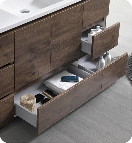 "Image of Fresca Lazzaro 60"" Rosewood Free Standing Modern Bathroom Cabinet w/ Integrated Single Sink 