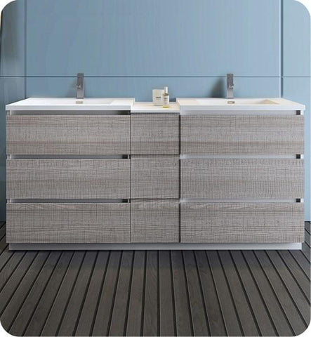 "Image of Fresca Lazzaro 72"" Glossy Ash Gray Free Standing Double Sink Modern Bathroom Cabinet w/ Integrated Sinks 