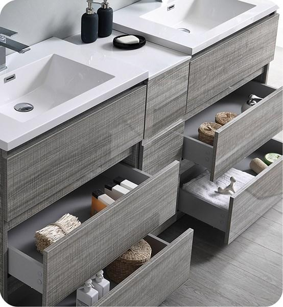 "Fresca Lazzaro 72"" Glossy Ash Gray Free Standing Double Sink Modern Bathroom Cabinet w/ Integrated Sinks 