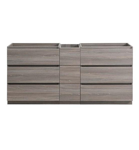 "Image of Fresca Lazzaro 72"" Gray Wood Free Standing Double Sink Modern Bathroom Cabinet 
