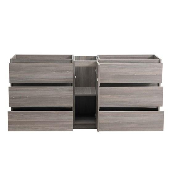 "Fresca Lazzaro 72"" Gray Wood Free Standing Double Sink Modern Bathroom Cabinet 