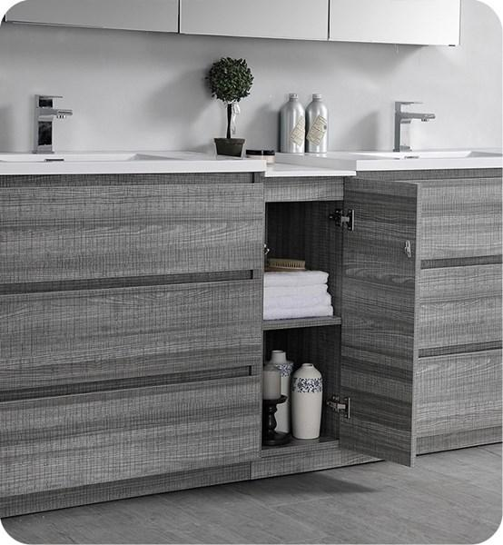 "Fresca Lazzaro 84"" Glossy Ash Gray Free Standing Double Sink Modern Bathroom Cabinet w/ Integrated Sinks 