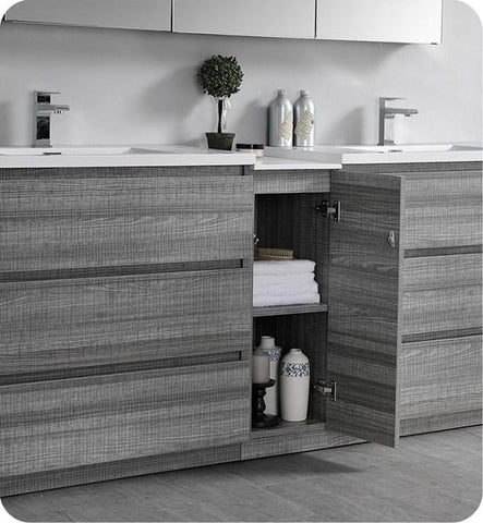 "Image of Fresca Lazzaro 84"" Glossy Ash Gray Free Standing Double Sink Modern Bathroom Cabinet w/ Integrated Sinks 