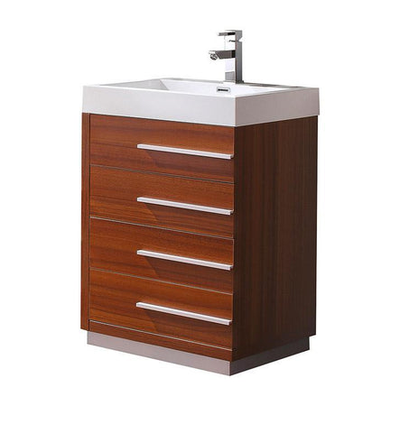 "Fresca Livello 24"" Teak Modern Bathroom Cabinet w/ Integrated Sink FCB8024TK-I"