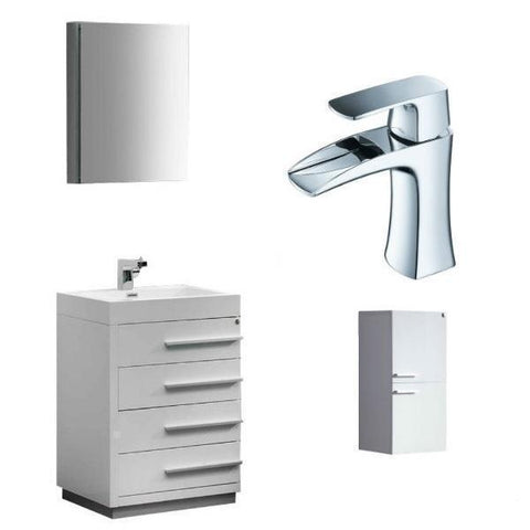 "Image of Fresca Livello 24"" White Modern Bathroom Vanity w/ Medicine Cabinet FVN8024 FVN8024WH-FFT3071CH-ST8091WH"