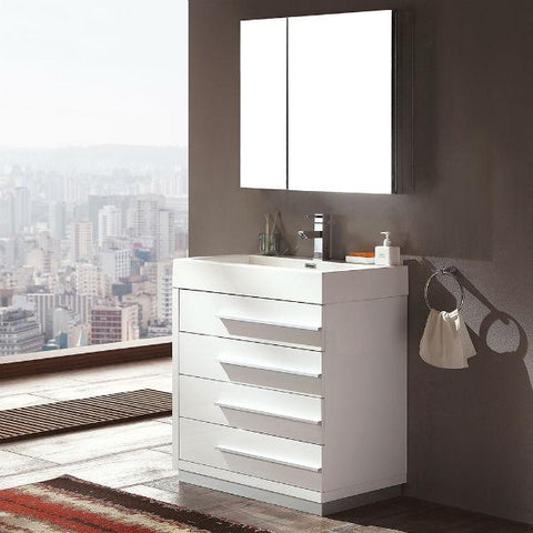"Image of Fresca Livello 30"" White Modern Single Bathroom Vanity w/ Medicine Cabinet FVN8030 FVN8030WH-FFT1030BN"