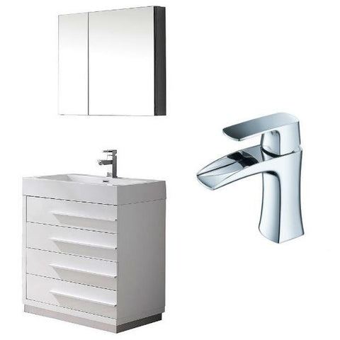 "Image of Fresca Livello 30"" White Modern Single Bathroom Vanity w/ Medicine Cabinet FVN8030 FVN8030WH-FFT3071CH"