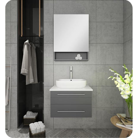 "Image of Fresca Lucera 24"" Gray Modern Wall Hung Vessel Sink Vanity w/ Medicine Cabinet"