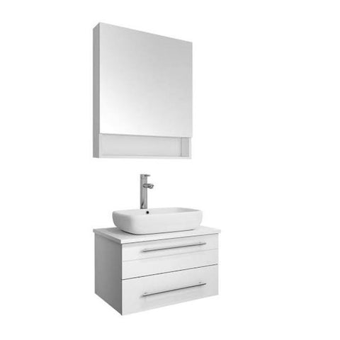 "Image of Fresca Lucera 24"" White Modern Wall Hung Vessel Sink Vanity w/ Medicine Cabinet"