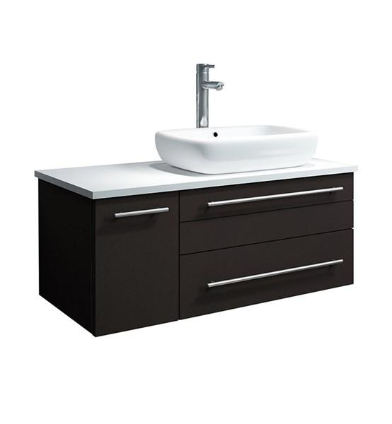 "Fresca Lucera 36"" Espresso Wall Hung Modern Bathroom Cabinet w/ Top & Vessel Sink - Right Version 