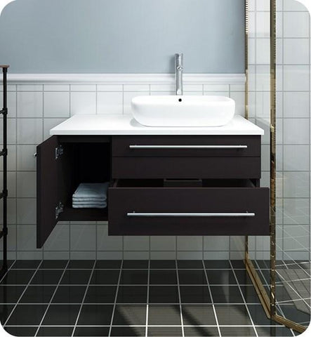 "Image of Fresca Lucera 36"" Espresso Wall Hung Modern Bathroom Cabinet w/ Top & Vessel Sink - Right Version 