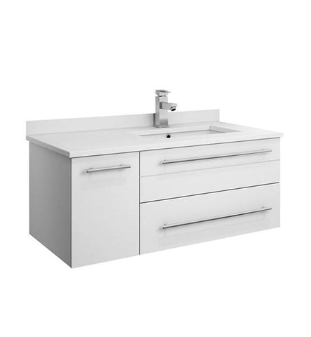 "Image of Fresca Lucera 36"" White Wall Hung Modern Bathroom Cabinet w/ Top & Undermount Sink - Right Version 
