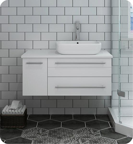"Fresca Lucera 36"" White Wall Hung Modern Bathroom Cabinet w/ Top & Vessel Sink - Right Version 