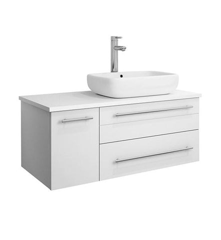 "Image of Fresca Lucera 36"" White Wall Hung Modern Bathroom Cabinet w/ Top & Vessel Sink - Right Version 