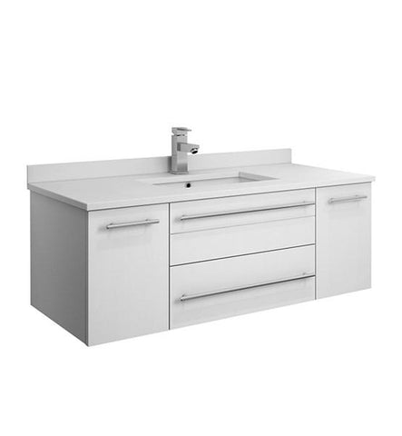 "Image of Fresca Lucera 42"" White Wall Hung Modern Bathroom Cabinet w/ Top & Undermount Sink 